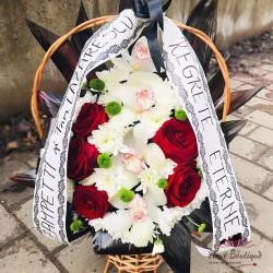 Jerba funerara trandafiri si orhidee