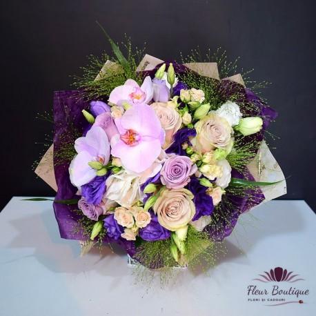 Buchet flori orhidee, trandafiri, miniroze, eustome