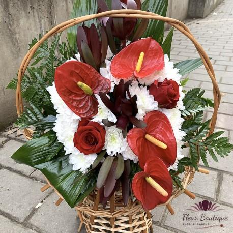 Jerba funerara anthurium si crizanteme
