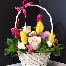 Cos Floral lalele, zambile si trandafiri