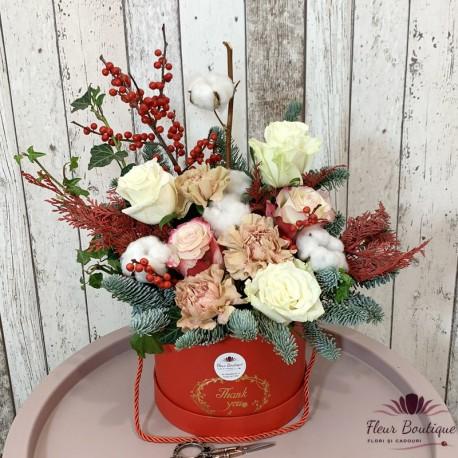 Aranjament floral craciun cu flori