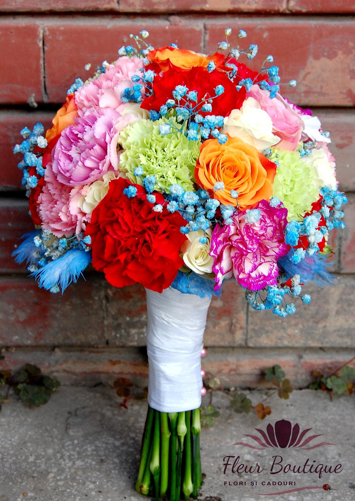 Buchet Mireasa Accente Turcoaz Bm005 Florarie Online Flori In