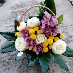 Cos trandafiri, orhidee cymbidium si santini CF012