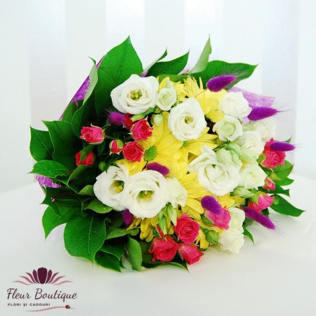 Buchet eustoma, crizanteme si minirose BF038