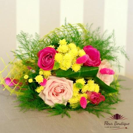 Buchet trandafiri si crizanteme BF039