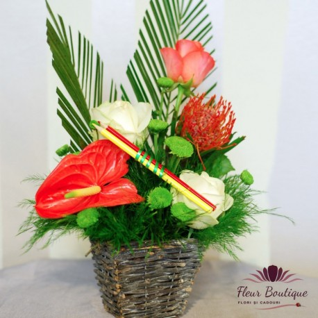 Cos floral Multumesc! CF037