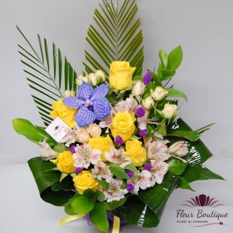 Aranjament floral Yellow roses AF021