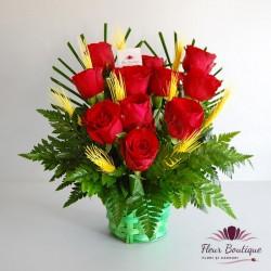 Cos floral 11 trandafiri CF056