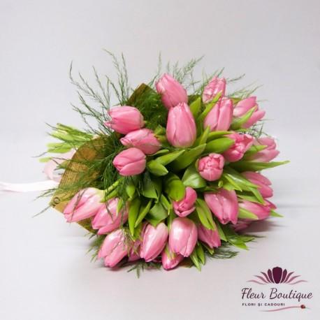 Buchet 25 lalele Lovely Pink BF045