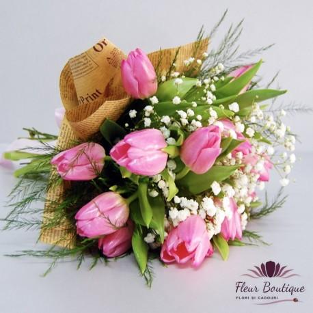 Buchet 15 lale roz