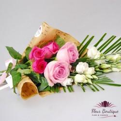 Buchet trandafiri si lisianthus BF064