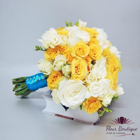 Buchet mireasa trandafiri galbeni si frezii BM014