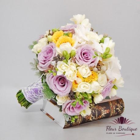 Buchet Mireasa Trandafiri Mov Floraria Fleurboutique Iasi
