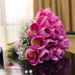 Buchet mireasa lalele roz BM016