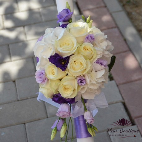 Lumanare cununie hortensie, trandafiri si eustoma