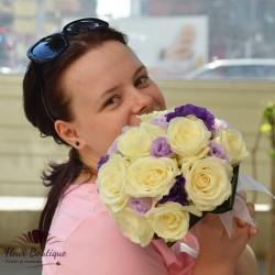 Buchet mireasa trandafiri si eustome