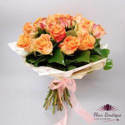 Buchet 17 trandafiri somon