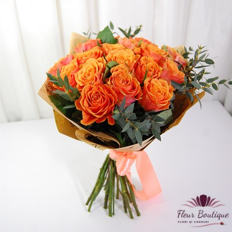 Buchet 19 trandafiri orange BF087