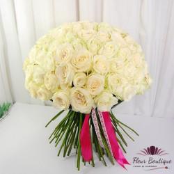 Buchet 101 trandafiri Pure White BF088