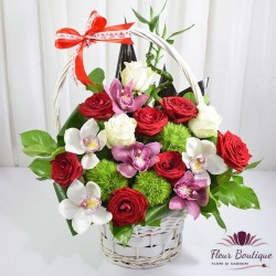 Cos floral trandafiri si orhidee CF071