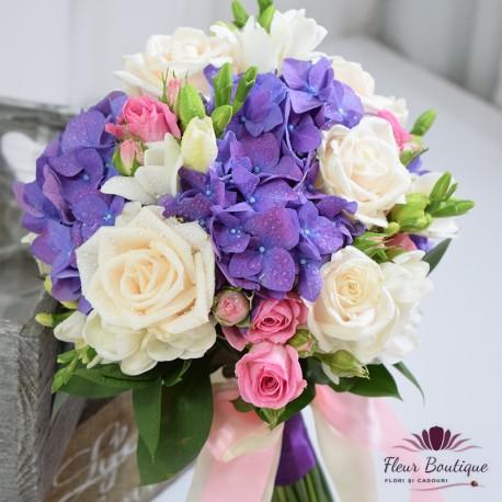 Buchet de mireasa Hydrangea Purple BM024