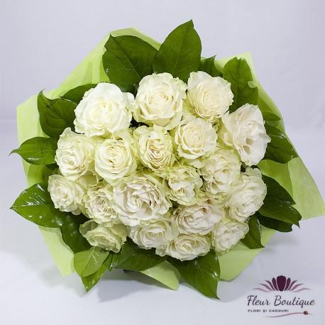 Buchet 19 trandafiri White Roses BF095