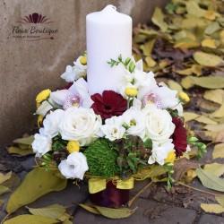 Lumanare de botez hortensie si trandafiri