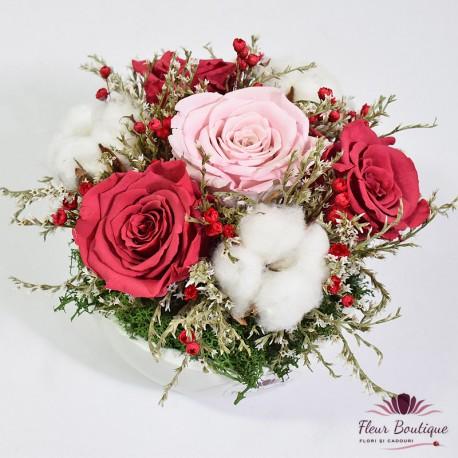 Aranjament trandafiri stabilizati AF027