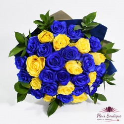 Buchet 31 trandafiri albastrii si galbeni